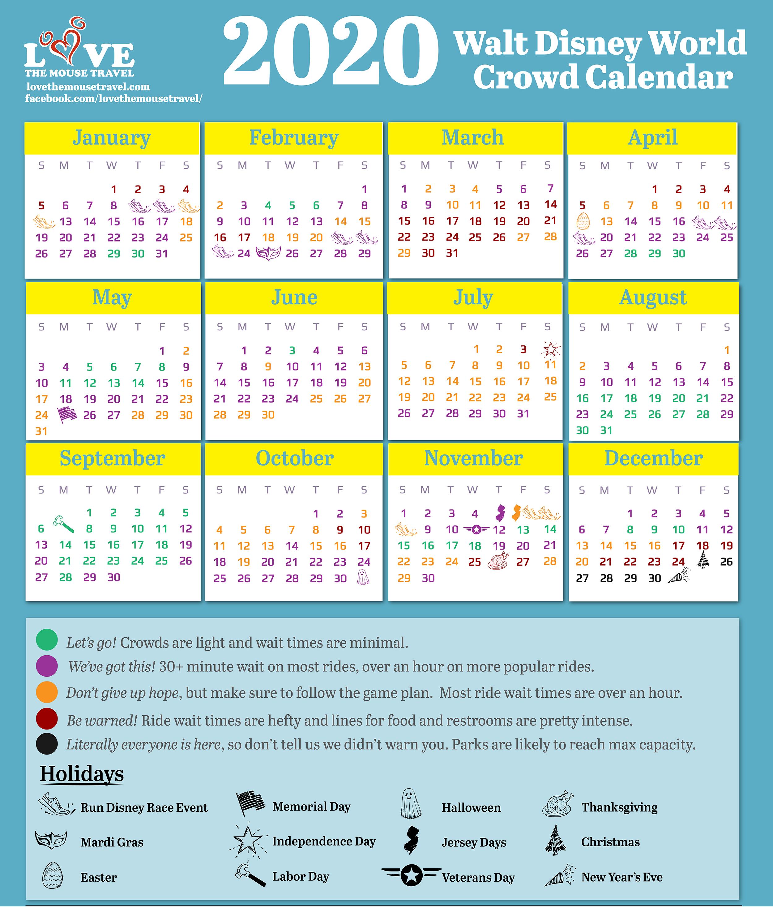 Universal Crowd Calendar 2022.2020 Walt Disney World Crowd Calendar Love The Mouse Travel