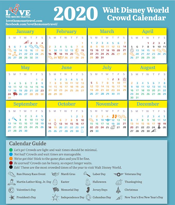 2020 Disney Crowd Calendar