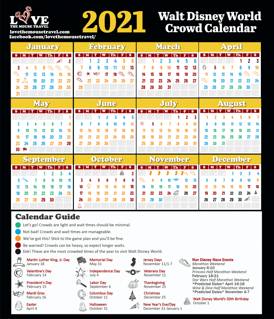 2021 Disney World Crowd Calendar