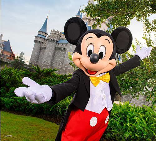 Mickey Mouse in front of Cinderella's Castle