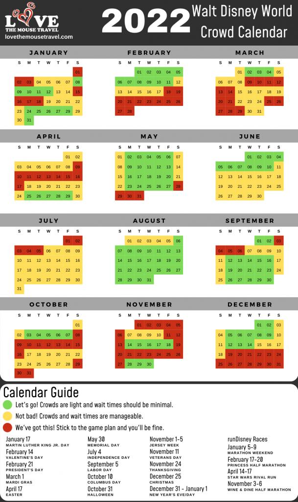 Attendance Calendar 2022.2022 Walt Disney World Crowd Calendar Love The Mouse Travel
